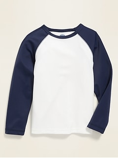 Haut de maillot anti-UV à manches raglan à couleurs contrastantes pour tout-petit garçon