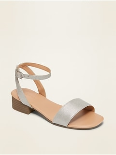 Silver-Metallic Faux-Suede Block-Heel Sandals for Girls