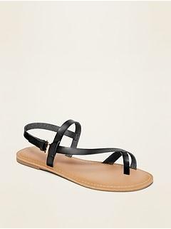 Sandales en similicuir à brides croisées asymétriques pour femme