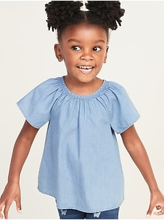 Shirred Chambray A-Line Top for Toddler Girls