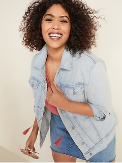 Light-Wash Boyfriend Plus-Size Jean Jacket