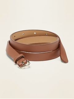 Skinny Faux-Leather Belt for Women (0.50-inch)