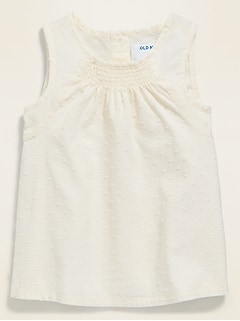 Textured Swiss-Dot Sleeveless Top for Toddler Girls
