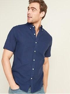 Relaxed-Fit Linen-Blend Short-Sleeve Shirt for Men