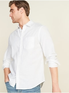 Regular-Fit Linen-Blend Long-Sleeve Shirt for Men