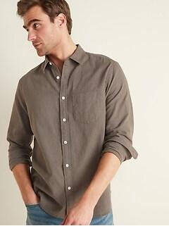 Chemise à manches longues en mélange de lin, coupe standard pour homme