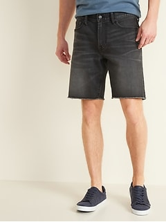 Slim Built-In Flex Black Cut-Off Jean Shorts for Men --
