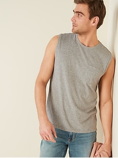 Soft-Washed Chest-Pocket Muscle Shirt for Men