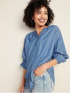 Oversized Smocked-Yoke Chambray Shirt for Women