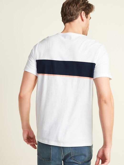 Soft-Washed Chest-Stripe Crew-Neck Tee for Men