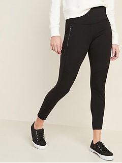 High-Waisted Zip-Pocket Side-Rib Elevate 7/8-Length Leggings for Women