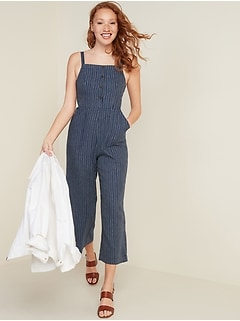 Combinaison camisole en mélange de lin à encolure carrée pour femme