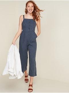 Button-Front Linen-Blend Striped Cami Jumpsuit for Women