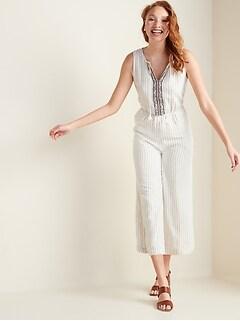 Linen-Blend Pinstripe Sleeveless Jumpsuit for Women