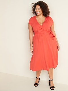 Fit & Flare Wrap-Front Plus-Size Tie-Belt Midi Dress