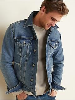 Distressed Built-In Flex Jean Jacket for Men
