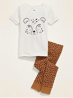 Cheetah Graphic Pajama Set for Toddler Girls