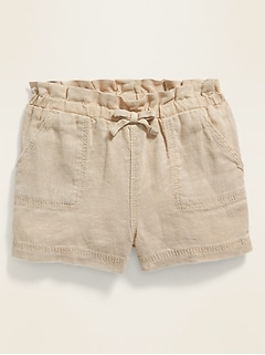 Paperbag-Waist Pull-On Shorts for Baby