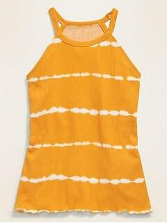 Rib-Knit Tie-Dye-Stripe Halter Top for Girls