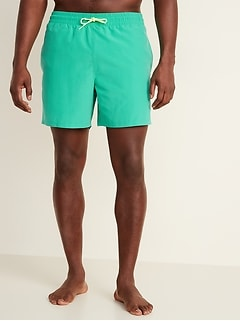 Solid-Color Swim Trunks for Men -- 6-inch inseam