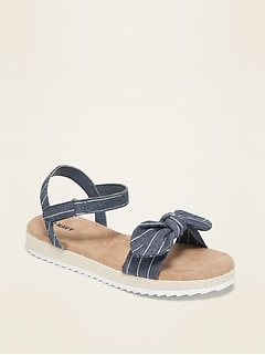 Striped-Chambray Bow-Tie Sandals for Girls