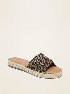 Faux-Suede Espadrille Slide Sandals for Women