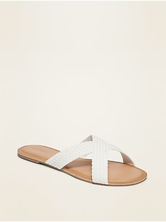 Braided Faux-Leather Cross-Strap Slide Sandals for Women