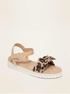 Leopard-Print Bow-Tie Espadrille Sandals for Girls