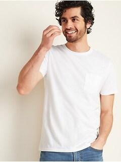 T-shirt à poche en tricot grège de poids lourd au fini soyeux pour homme