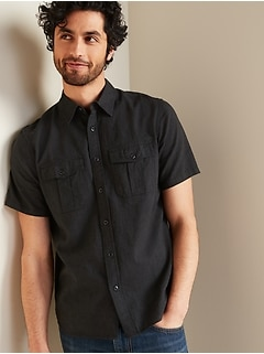 Relaxed-Fit Linen-Blend Utility Shirt for Men