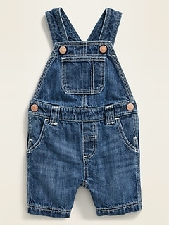 Unisex Dark-Wash Jean Shortalls for Baby