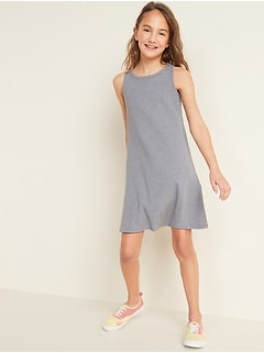Sleeveless Rib-Knit Swing Dress for Girls