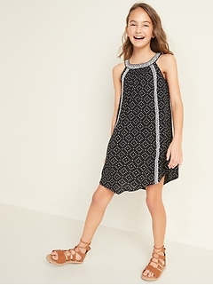 Printed Halter Swing Dress for Girls