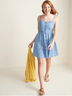 Chambray Button-Front Fit & Flare Cami Dress for Women
