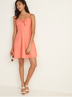 Fit & Flare Linen-Blend Tie-Front Cami Dress for Women