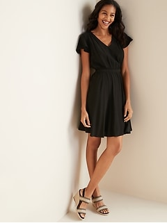 Waist-Defined V-Neck Flutter-Sleeve Dress for Women