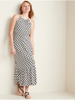 Fit & Flare Jersey-Knit Maxi Dress for Women