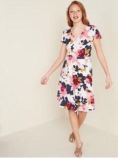 Waist-Defined V-Neck Flutter-Sleeve Dress for Women