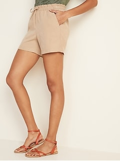 High-Waisted Soft Twill Pull-On Shorts for Women --