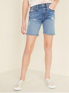 Distressed Midi Jean Cut-Off Shorts for Girls