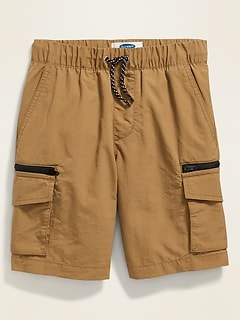 Dry-Quick Nylon Zip-Pocket Cargo Jogger Shorts for Boys
