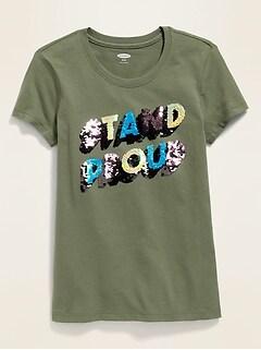 T-shirt à imprimé à paillettes tournantes pour fille