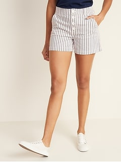 High-Waisted Button-Fly Herringbone Shorts for Women -- 4-inch inseam