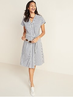 Striped Tie-Belt Cap-Sleeve Shirt Dress for Women