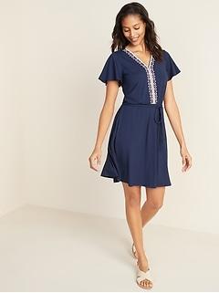 Waist-Defined Embroidered Tie-Belt Jersey Dress for Women