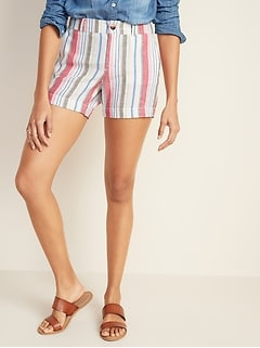 Mid-Rise Everyday Linen-Blend Shorts for Women - 5-inch inseam