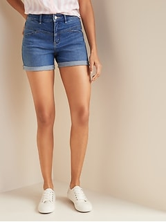 High-Waisted Seamed-Yoke Jean Shorts for Women -- 3.5-inch inseam