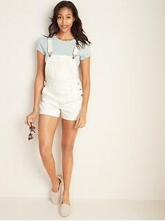 Off-White Jean Shortalls for Women