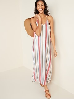 Multi-Stripe V-Neck Maxi Shift Dress for Women