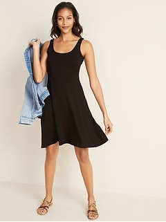 Sleeveless Fit & Flare Jersey Dress for Women